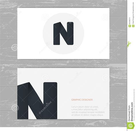Letter Card Design Business Card Template With Logo Alphabet Letter N Stylish Logo Design Stock Illustration