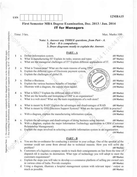 Mba 3rd Sem Question Papers Osmania by 1st Semester Mba Dec 2013 Question Papers