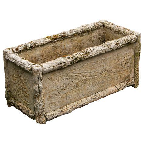 faux bois rectangular concrete faux bois planter from belgium circa