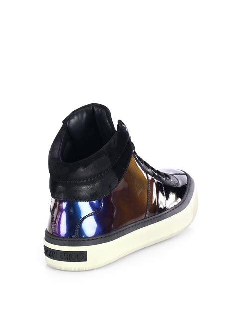 jimmy choo belgravi hologram high top sneakers in purple