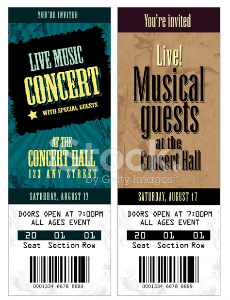 Set Of Cool Concert Tickets Template Stock Vector Freeimages Com Concert Ticket Design Template Free