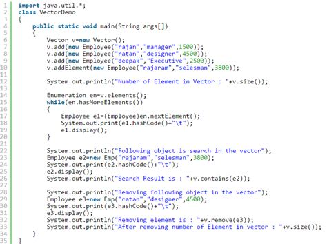 vector tutorial in java java vector