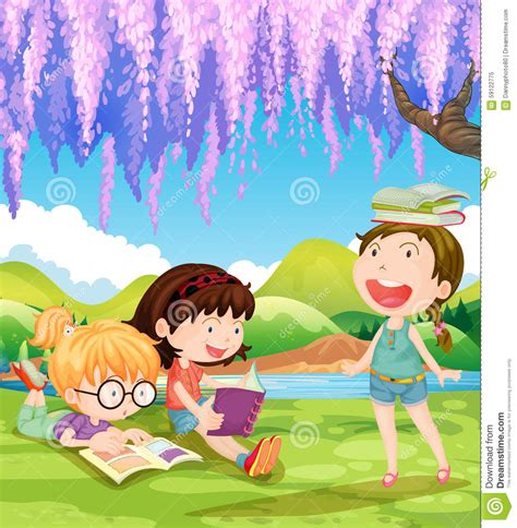 the art of children s picture books tree houses children reading books under the tree stock vector
