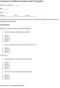 questionnaire template for customer feedback template of