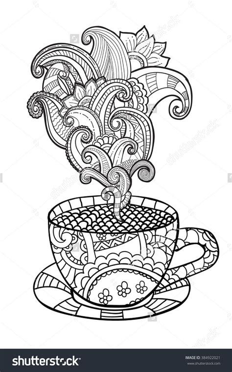 tea coloring pages coffee or tea cup zentangle style coloring page 384922021