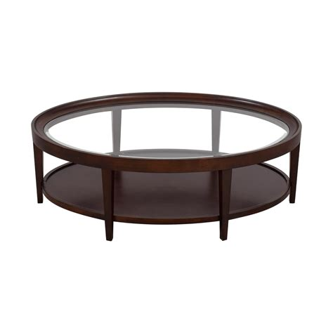 oval glass and wood coffee table 90 carson carson oval glass and wood coffee table