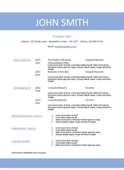 basic resume template word 2007 simple resume template