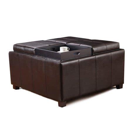 brown leather square storage ottoman adeco brown bonded leather square storage ottoman