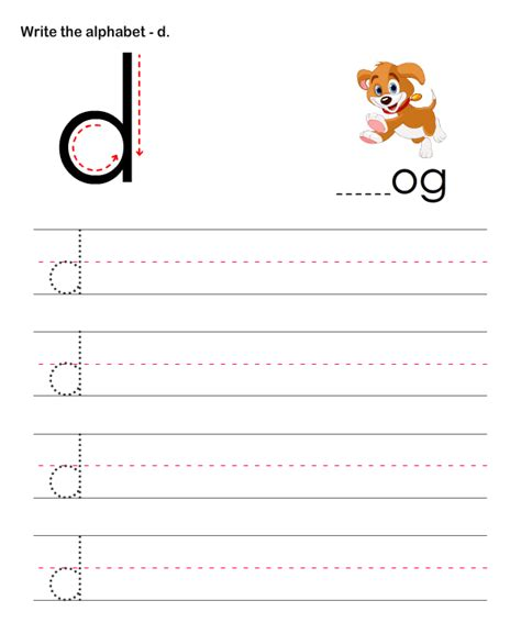 small letters d learn to write letters worksheets for