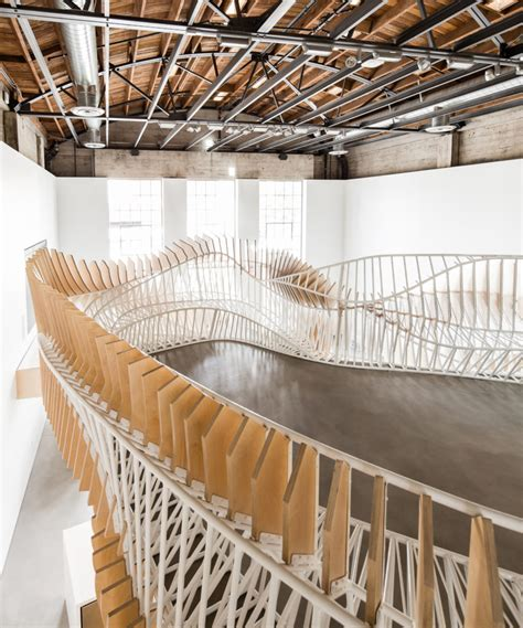 oyler wu collaborative create 3d food lab wallpaper stepping up 6 spaces transformed by custom stairs and