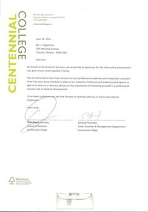 Centennial College Letter Of Acceptance The World S Catalog Of Ideas