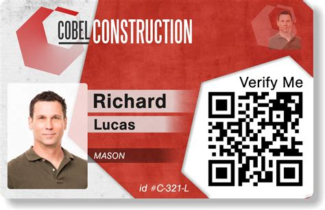 Contractor Id Card Template by Sle Card Designs