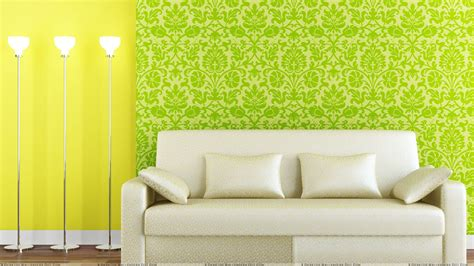 background sofa white sofa and green yellow background wallpaper