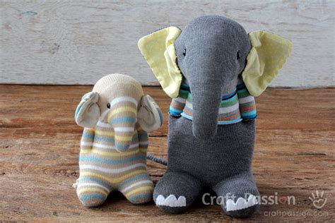 different sock animals sock elephant free sewing pattern tutorial craft