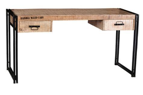 schreibtisch industrial design massivholz schreibtisch industrial look mit schubladen