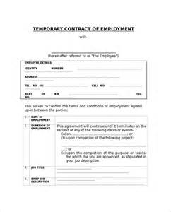 temporary employee contract template sle employment contract 6 documents in pdf word