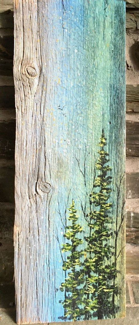 painted wooden trees landscape of trees painted on recycled vermont barn board wood repurposed can do
