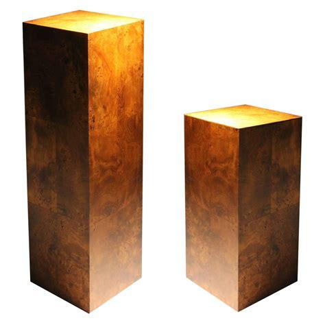 Sculpture Pedestal Base Pair Of Milo Baughman Burl Wood Pedestal Sculpture Bases