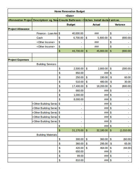 home renovation budget spreadsheet template simple budget spreadsheet template 11 freeword excel