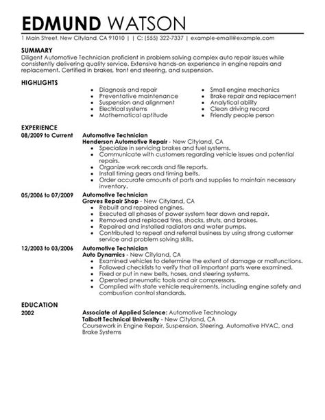 auto mechanic resume templates automotive technician resume exles created by pros