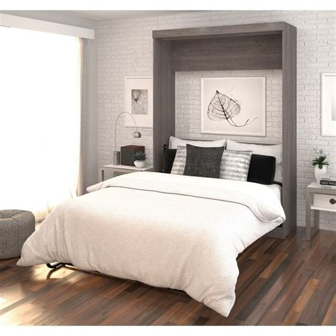 bestar wall bed bestar nebula full wall bed in bark grey and white 25183