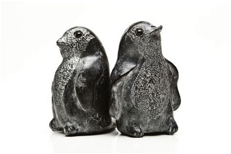 Soapstone Canada - set of 2 black soapstone carvings of penguins signed