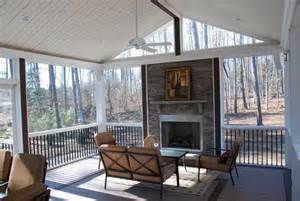 rock fireplace on a screened in porch inspiring outdoor spaces pinterest