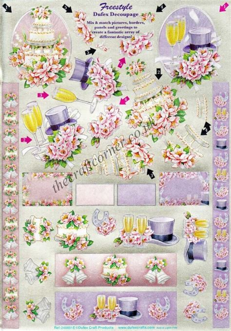 Wedding Decoupage Sheets - wedding freestyle die cut 3d decoupage sheet from dufex