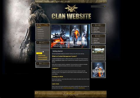 Gaming Templates gaming clan joomla template