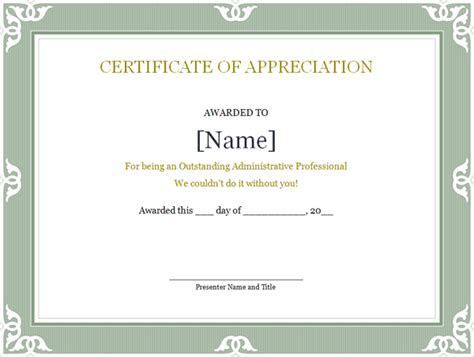 professional certificates templates certificate of recognition for administrative professional