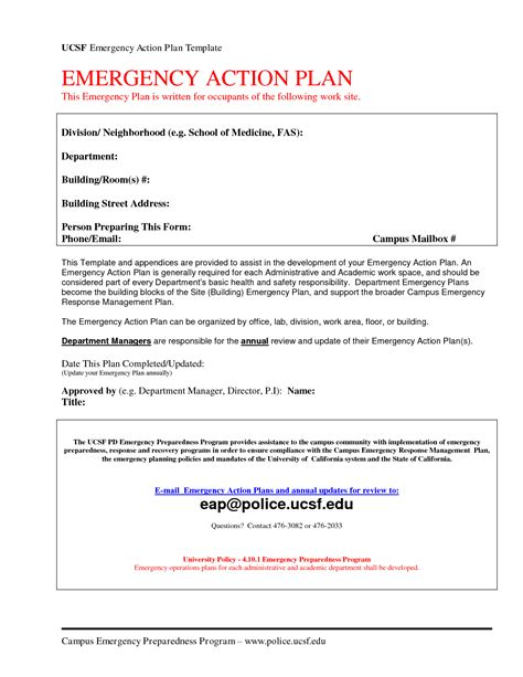 Emergency Action Plan Template Cyberuse Home Daycare Emergency Plan Template