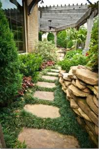 side yard landscaping mondo grass between stepping stones garden landscapes