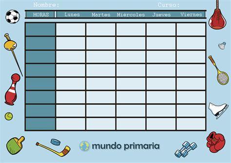 plantillas organizativas de todas clases para imprimir horarios escolares para ni 241 os de primaria