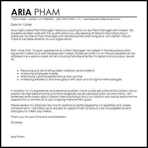 Sample Resume For Promotion by Plant Manager Cover Letter Sample Livecareer