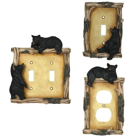black switch plate covers cabin place