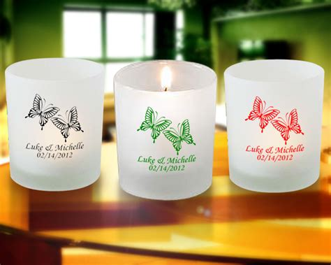 Candle Giveaways - butterfly personalized frosted candle favors