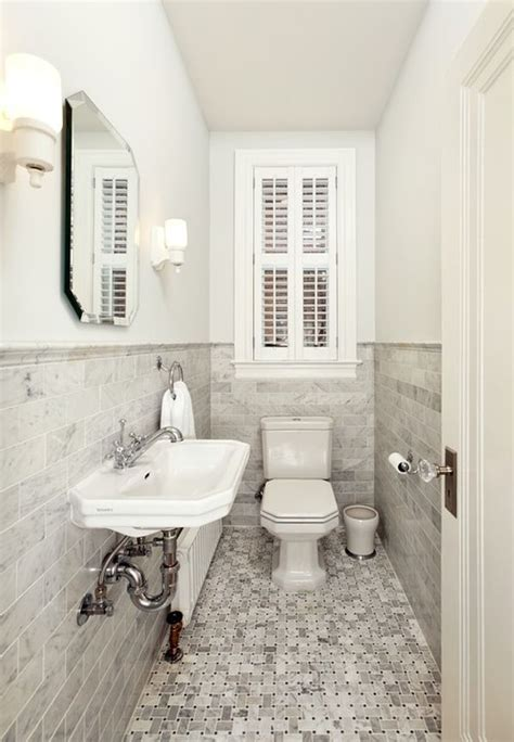 powder room tile ideas how to make a narrow powder room feel inviting and