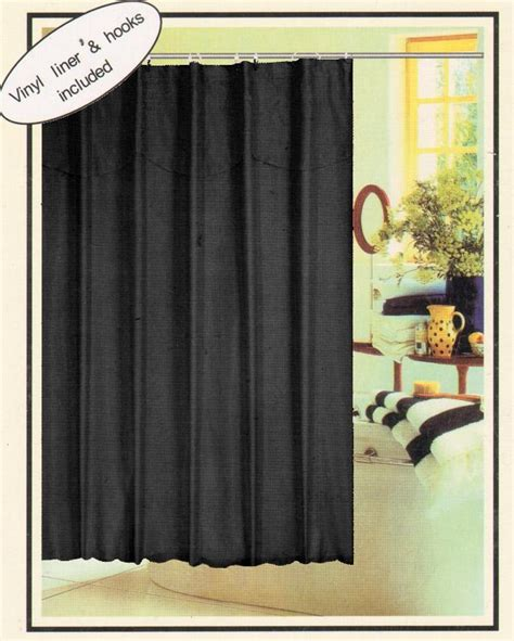 black fabric shower curtain solid black fabric shower curtain vinyl liner rings set ebay