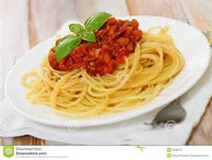 Spice Table Spaghetti Bolognese On White Plate Stock Image Image
