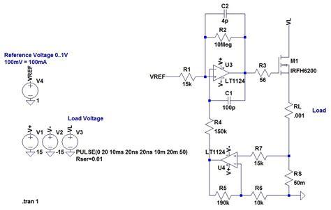 resistor based circuit op op based constant current source sink produces high peak current when load voltage