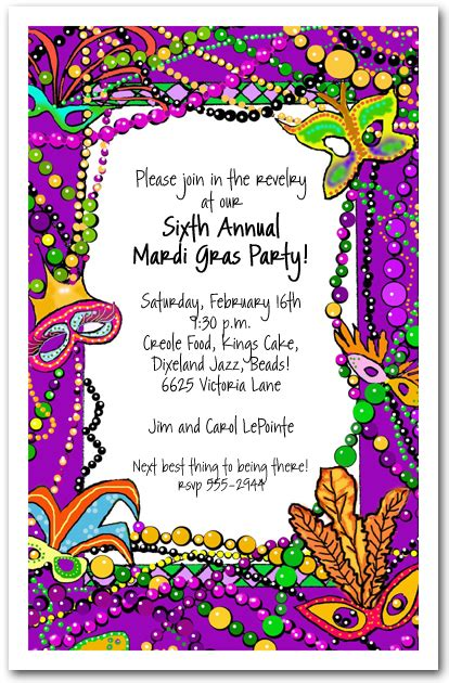 mardi gras birthday invitations wblqual com