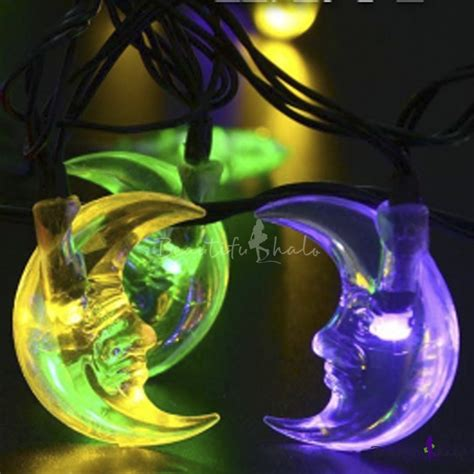 Outdoor String Lights Solar Powered Moon Shape Multi Color Solar Powered Outdoor String Lights