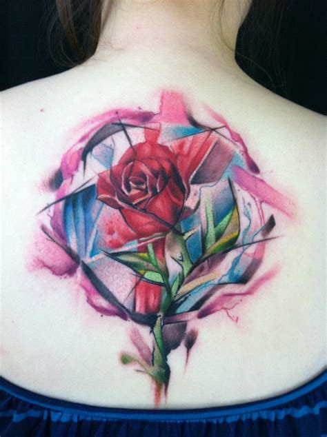 beauty and the beast rose tattoo my newest a watercolor inspired by