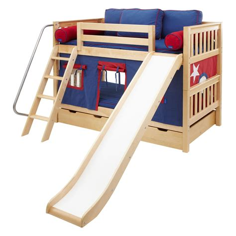 bed with slide laugh boy twin over twin slat slide tent bunk bed kids