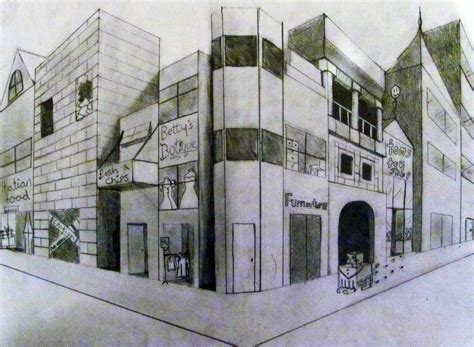 2 Point Perspective Drawing Cityscape by Perceived Graphics Cityscape