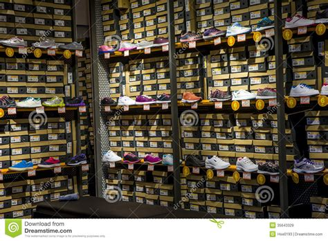 chs sports shoe store sports shoes on shelves editorial stock image image