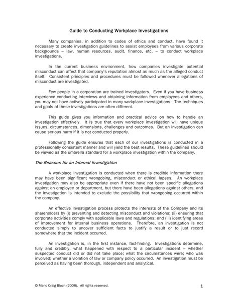 10 Workplace Investigation Report Exles Pdf Human Resources Investigation Template