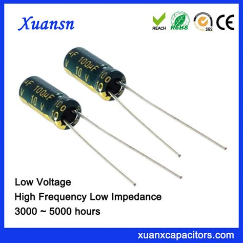 electrolytic capacitor low frequency high frequency low impedance 100uf 10v electrolytic capacitor