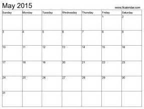 Blank May Calendar 2015 Best Photos Of Blank May 2015 Calendar Printable Blank