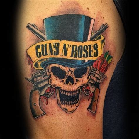 gun and rose tattoos collection of 25 guns n roses skull on chest